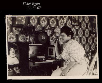 Sister Egan at desk